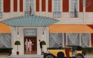 Neil DAVENPORT (1913-1983)Departure by motor, Hotel Regina, 1976Oilon canvas.Signed and dated lower right.41 x 51 cm