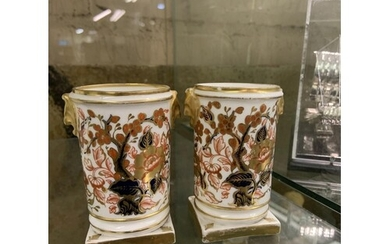 PAIR OF ROYAL CROWN DERBY SPILL VASES
