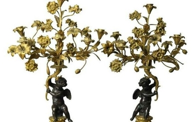 Pair of 19th C. French Rococo Gilt & Patinated Bronze