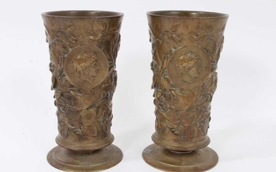 Pair of 19th century cylindrical bronze goblets with floral decoration