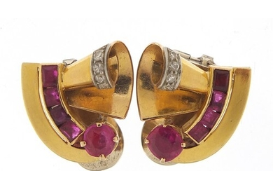 Pair of Art Deco unmarked gold ruby and diamond clip on earr...
