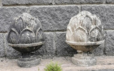 Pair of polystone finials in the form of acorns {40 cm H x 3...