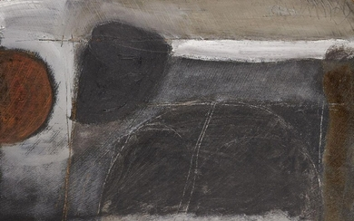 Roy Turner Durrant, British 1925-1998 – Untitled, 1969; oil with incised lines on sawn wood panel, signed and dated top right 'Durrant 60', signed, dated and numbered on a panel affixed to the reverse of the frame, 38.5 x 59 cm (ARR) Provenance:...