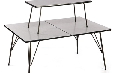 Rudolf Wolf (1919-), Height-adjustable table with metal base and formica...