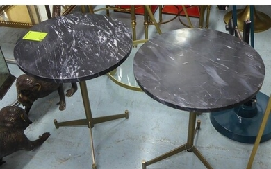 SIDE TABLES, a pair, 1960's Italian style, marble tops, 51cm...