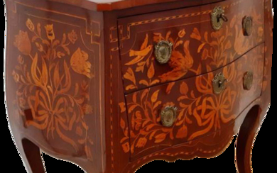 SMALL DUTCH DRESSER IN RICHLY INLAY MAHOGANY WITH FLORAL MOTIF