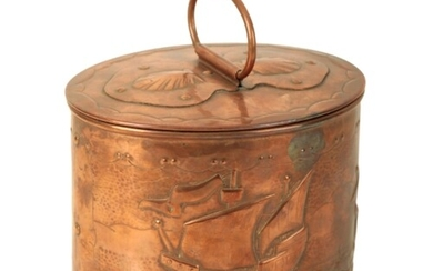 THE COPPER WORKS NEWLYN: AN OVAL TEA CADDY the pull off cove...