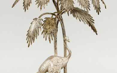 Table decoration, around 1900, metal, silver plated. Round...