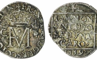 Scotland, Silver Hammered Coins (3), Francis and Mary, Nonsunt, 1559; also, Charles I, 40-Pence, 1636; and, Charles II, Half-Merk, 1671