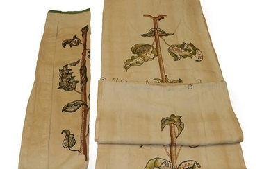 Three Early 20th Century Embroidered Panels, worked on cream linen...