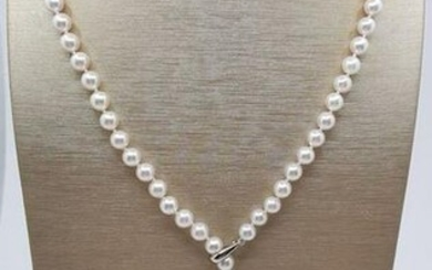 Top grade AAA 6.5x7mm Akoya pearls, Silver - Necklace