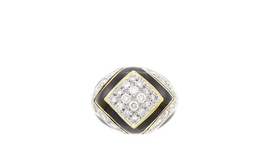 Two-Color Gold, Diamond and Black Enamel Dome Ring