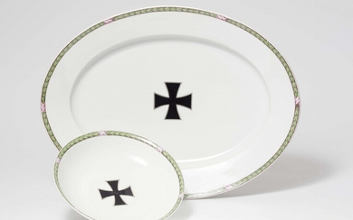 Two KPM porcelain dishes from a dinner service with the Iron Cross