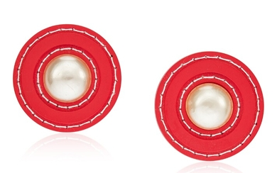 UNSIGNED CHANEL FAUX PEARL AND RED PLASTIC EARRINGS
