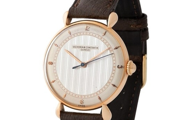 Vacheron Constantin. Very Attractive and Large Round Shaped Wirstwatch in Pink Gold, Reference 4126 With Teardrop Lugs and Two Tone Guillochè Dial