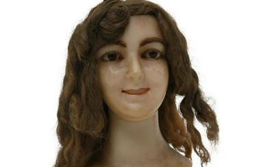 Victorian Life Sized Girl's Head with Human Hair.