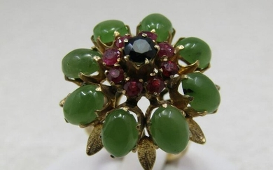 Vintage 18kt Jade Ruby Sapphire Ring, Sz. 6.75, Domed