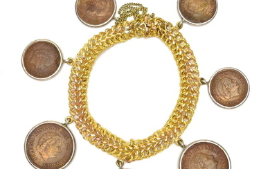 """Yellow gold bracelet """"19 Centimes"""" (18Kt) with Dutch coins, design..."""