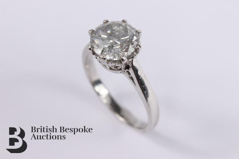 18ct white gold solitaire diamond ring, size , approx...