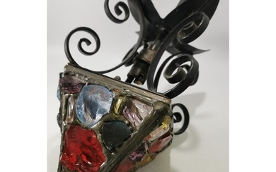 1950'S GOTHIC STYLE WROUGHT IRON LANTERN WITH ROCK CRYSTAL G...