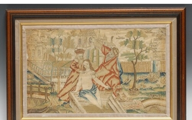 A 17th century needlework picture, worked in silk with Susan...