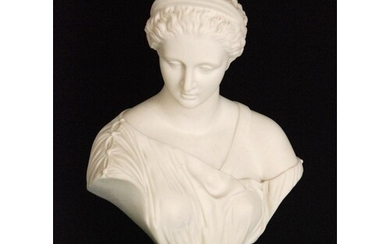 A 19th Century Parian bust of a classical lady, raised to a ...