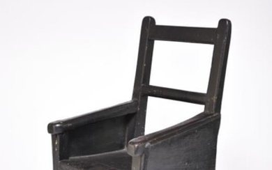 A 19th century ebonised child's chair, possibly Welsh, the...
