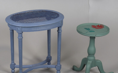 A CANE SEATED OVAL STOOL AND A SMALL PAINTED OCCASIONAL TABLE.