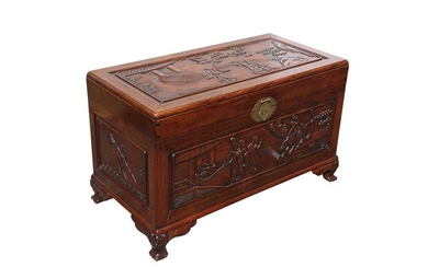 A CHINESE HARDWOOD 'EIGHT IMMORTALS' CHEST.