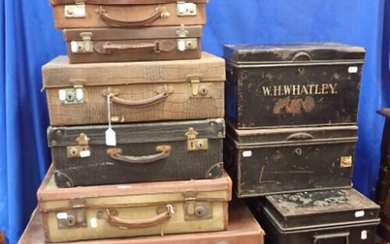 A COLLECTION OF VINTAGE LUGGAGE including leather suitcases ...