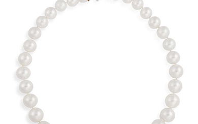 A CULTURED PEARL NECKLACE Composed of a single...