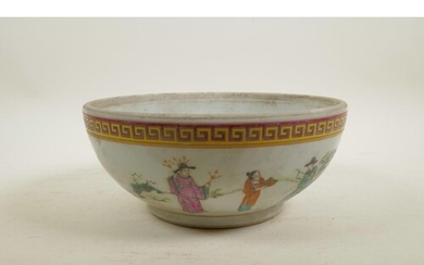 A Chinese famille rose enamel porcelain bowl decorated with ...