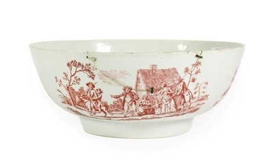 A Christians Liverpool Porcelain Punch Bowl, circa 1770, printed in...