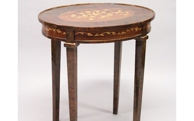 A FRENCH STYLE MARQUETRY INLAID OVAL TABLE on tapering squar...