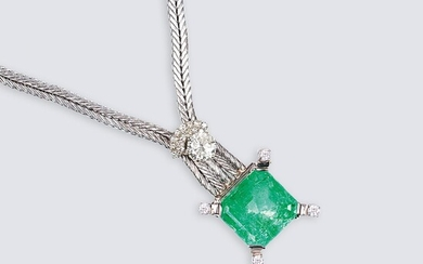A Highcarat Emerald Necklace with Solitaire Diamond.