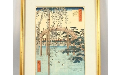 A JAPANESE WOODBLOCK PRINT, after Hiroshige, depicting figur...