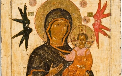 A LARGE ICON SHOWING THE SMOLENSKAYA MOTHER OF GOD...