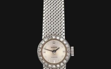 A Lady's 18 Carat White Gold Wristwatch, signed Rolex,...