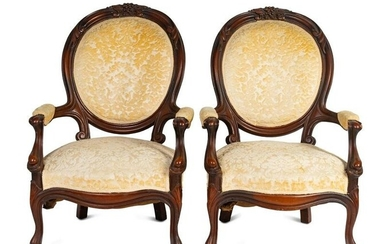 A Pair of Rococo Revival Carved Walnut Fauteuils Height