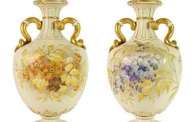 A Pair of Royal Worcester Porcelain Vases, 1890, of ovoid...