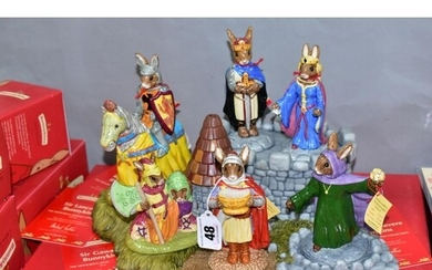 A SET OF SEVEN BOXED ROYAL DOULTON BUNNYKINS FIGURES AND STA...