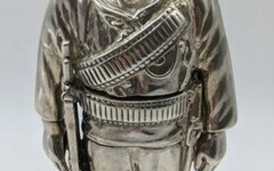 A Victorian silver inkwell in the form of a Royal Navy
