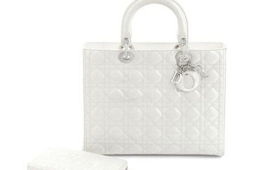 A WHITE PATENT LEATHER LARGE LADY DIOR BAG AND WALLET