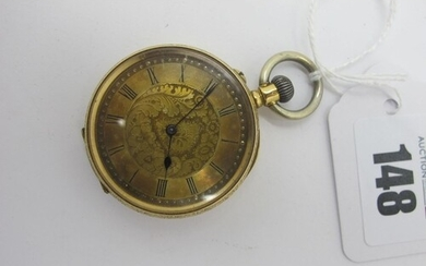 A XIX Century Fob Watch, the foliate engraved dial with blac...