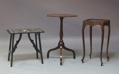A collection of furniture, comprising an octagonal pedestal wine table, the top raised on a turned column and standing on downswept legs, 73cm high, 46cm diameter, a late 19th Century ebony veneered and ivory inlaid side table, together with a...