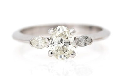 NOT SOLD. A diamond ring set with an oval brilliant-cut diamond weighing app. 0.75 ct....