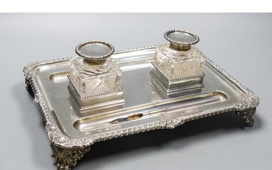 A late Victorian silver rectangular inkstand, with two mount...
