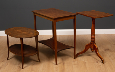 A mahogany and elm rectangular topped tripod table