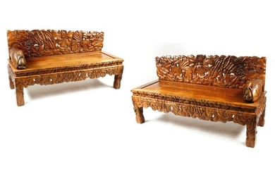A pair of Chinese hardwood settees