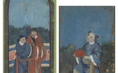A pair of Chinese reverse glass paintings, late 19th century, one depicting two men in traditional dress, the other painted with a boy carrying a large fruit, 27.5cm-33cm long, in glazed frames (2)